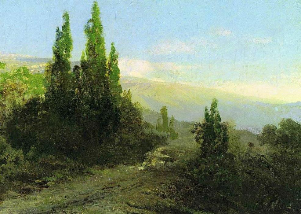 Evening in the Crimea, Oil On Canvas by Fyodor Alexandrovich Vasilyev (1850-1873, Russia)