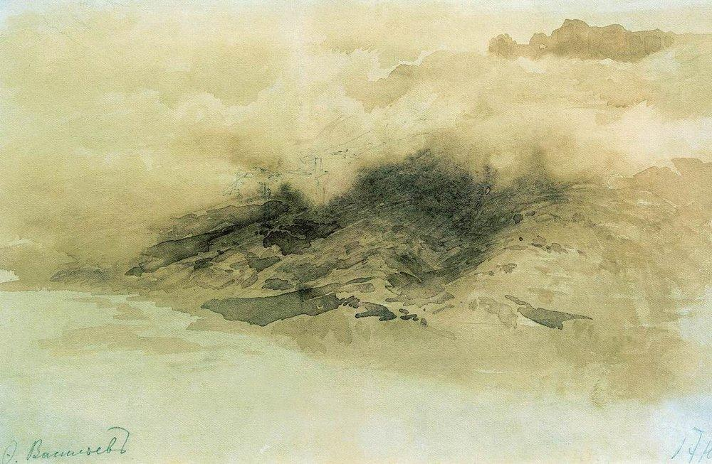 Mountains in the Clouds, 1873 by Fyodor Alexandrovich Vasilyev (1850-1873, Russia) | Oil Painting | ArtsDot.com