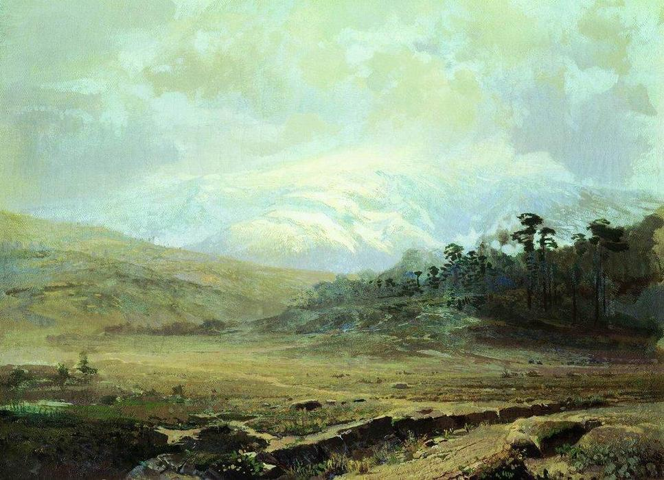 Mountains in the Crimea in Winter, Oil On Canvas by Fyodor Alexandrovich Vasilyev (1850-1873, Russia)