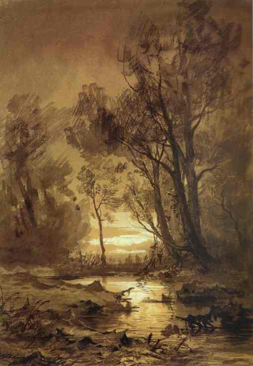 Brook in a Forest, Paper by Fyodor Alexandrovich Vasilyev (1850-1873, Russia)