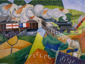 Gino Severini - Red Cross Train Passing a..