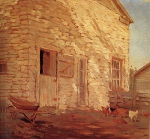 Grant Wood - Old Stone and barn