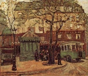 Grant Wood - Greenish Bus in Street of..