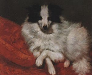 Gustave Courbet - Sitting on Cushions Dog