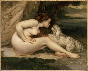 Gustave Courbet - Female Nude with a Dog (Portrait of Leotine Renaude)