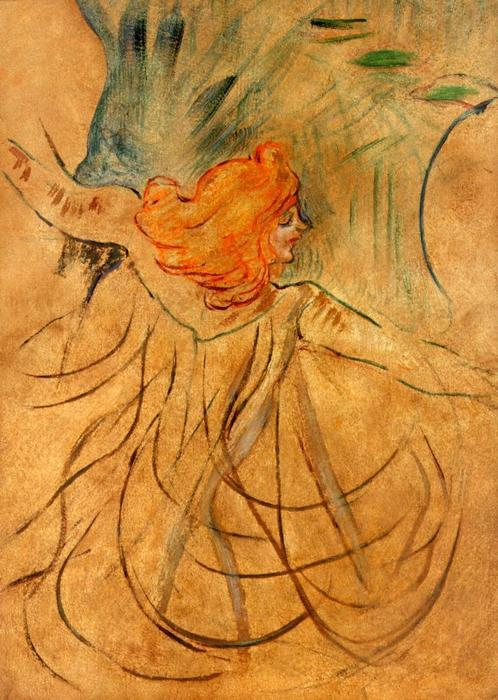 At the Music Hall Loie Fuller, Oil by Henri De Toulouse Lautrec (1864-1901, Second French Empire)