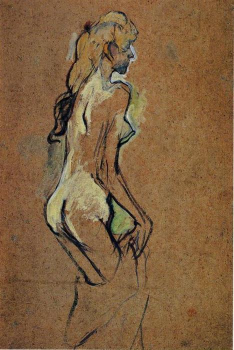 Nude Girl, Oil by Henri De Toulouse Lautrec (1864-1901, France)