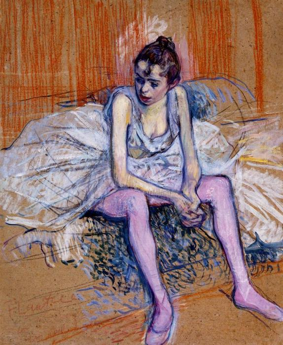 Seated Dancer in Pink Tights, Oil by Henri De Toulouse Lautrec (1864-1901, France)