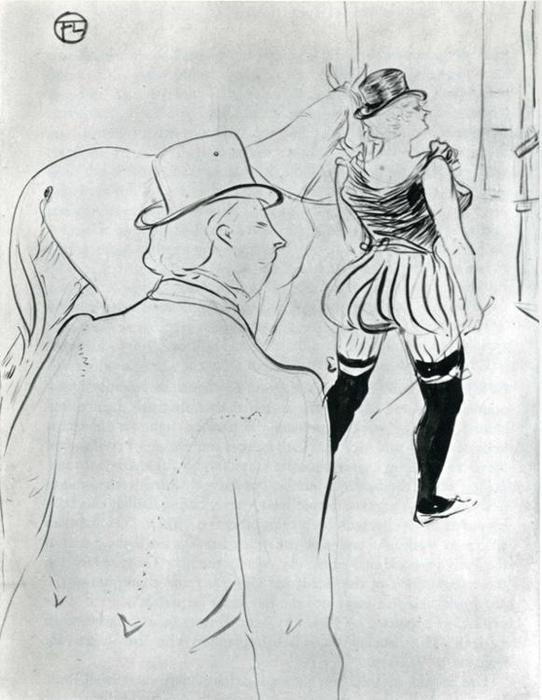 In the Wings at the Folies Berg re, Pencil by Henri De Toulouse Lautrec (1864-1901, France)