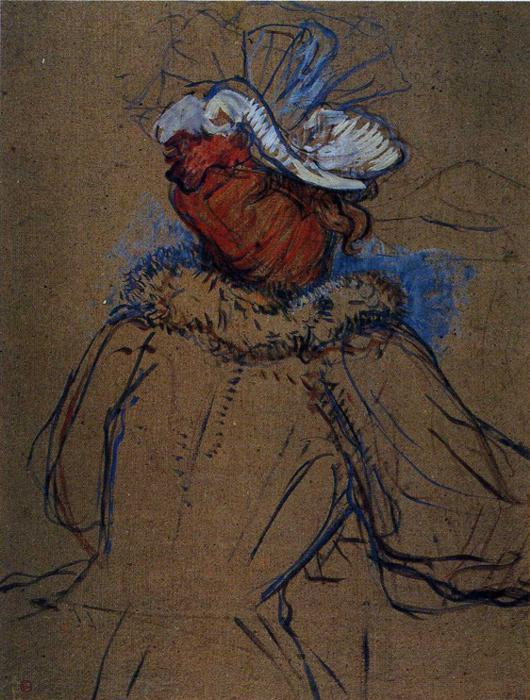 Red Haired Woman Seen from Behind, Oil by Henri De Toulouse Lautrec (1864-1901, France)