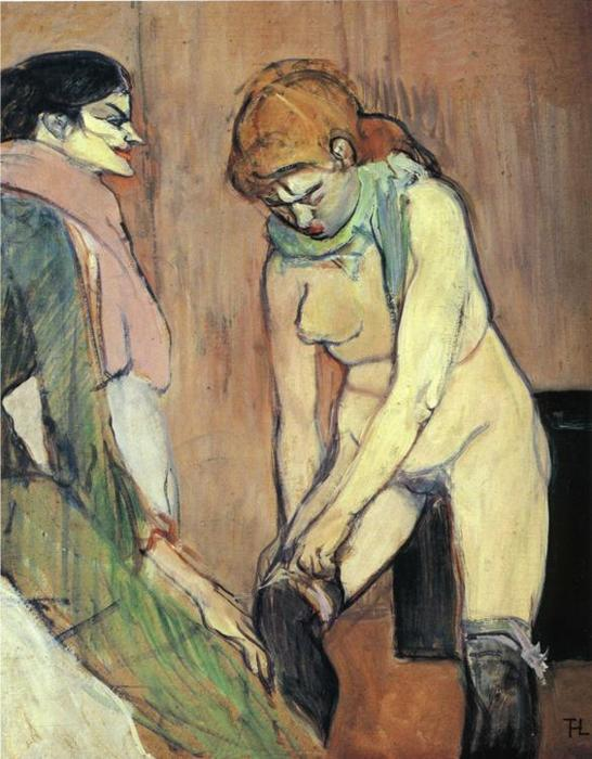 Woman Putting on Her Stocking by Henri De Toulouse Lautrec (1864-1901, France)