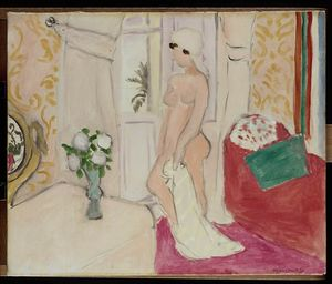 Henri Matisse - The Maiden and the vase of flowers or pink nude