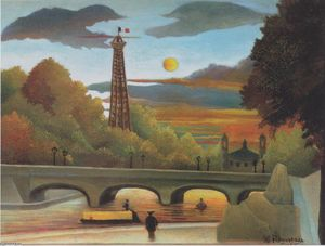 Henri Julien Félix Rousseau (Le Douanier) - Seine and Eiffel tower in the sunset
