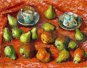 Igor Emmanuilovich Grabar - Still life in red tones with fruit and cups