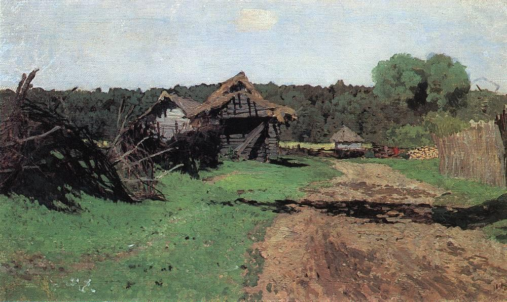 Entrance to the village, 1884 by Isaak Ilyich Levitan (1860-1900, Russia) | Reproductions Isaak Ilyich Levitan | ArtsDot.com