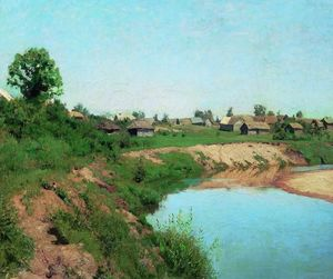 Isaak Ilyich Levitan - Village at the riverbank