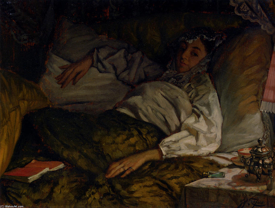 A Reclining Lady by James Jacques Joseph Tissot (1836-1902, France) | Paintings Reproductions James Jacques Joseph Tissot | ArtsDot.com