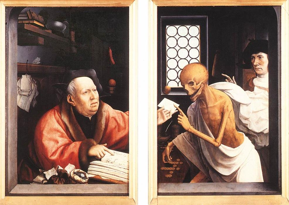 Death and the Miser, Oil by Jan Provoost (1462-1529, Belgium)
