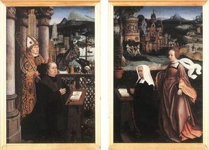 Jan Provoost - Donor with St. Nicholas and his Wife with St. Godelina