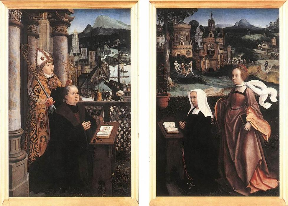 Donor with St. Nicholas and his Wife with St. Godelina, Oil by Jan Provoost (1462-1529, Belgium)