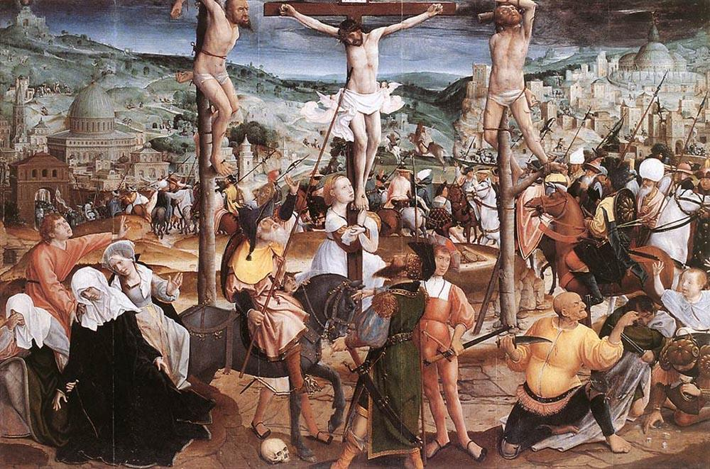 Crucifixion, Oil by Jan Provoost (1462-1529, Belgium)