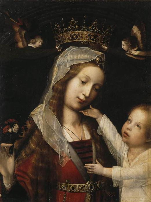 Virgin and Child, Oil On Panel by Jan Provoost (1462-1529, Belgium)