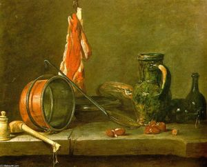Jean-Baptiste Simeon Chardin - A Lean Diet with Cooking Utensils
