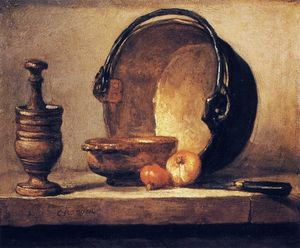 Jean-Baptiste Simeon Chardin - Still Life with Pestle, Bowl, Copper Cauldron, Onions and a Knife