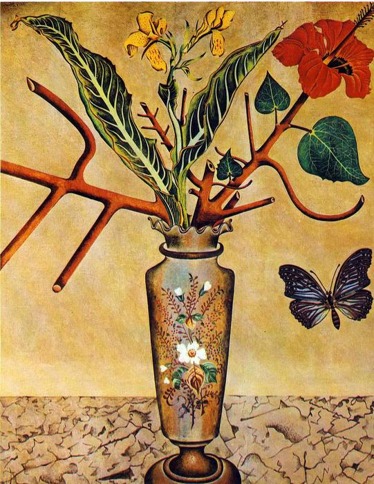 Flowers and Butterfly, 1922 by Joan Miro (1893-1983, Spain)