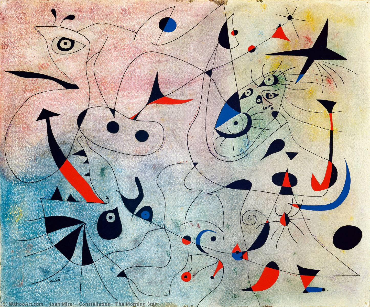 Constellation: The Morning Star, Gouache by Joan Miro (1893-1983, Spain)