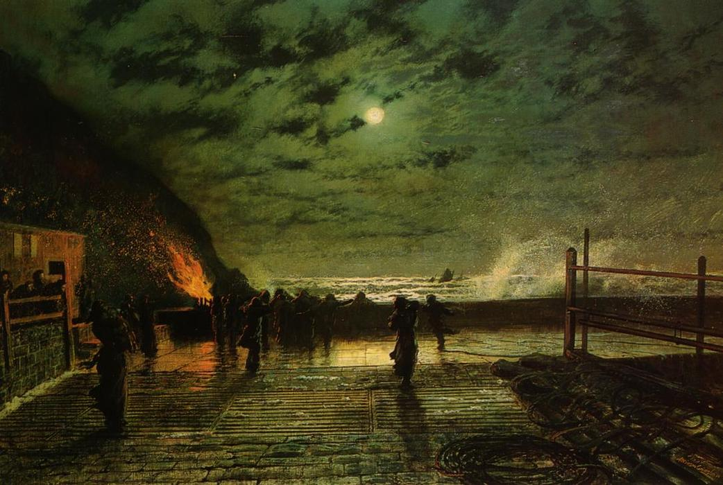 In Peril (The Harbour Flare), Oil On Canvas by John Atkinson Grimshaw (1836-1893, United Kingdom)