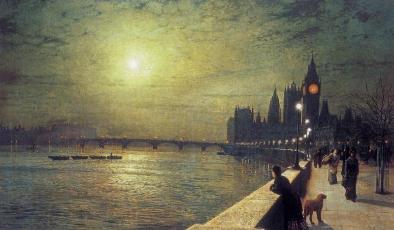 Reflections on the Thames, Westminster, Oil On Canvas by John Atkinson Grimshaw (1836-1893, United Kingdom)