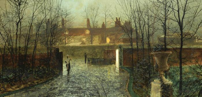 Arriving in the hall, Oil by John Atkinson Grimshaw (1836-1893, United Kingdom)