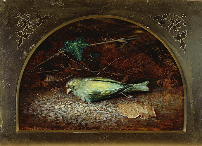 A Dead Linnet, Oil by John Atkinson Grimshaw (1836-1893, United Kingdom)
