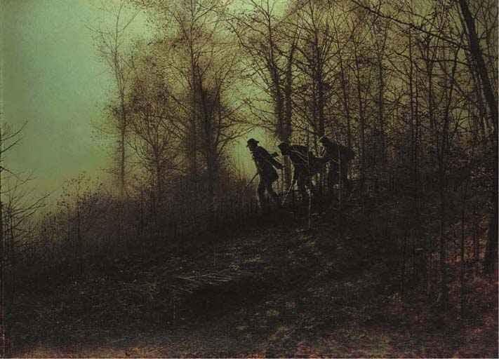 Poachers, Oil by John Atkinson Grimshaw (1836-1893, United Kingdom)