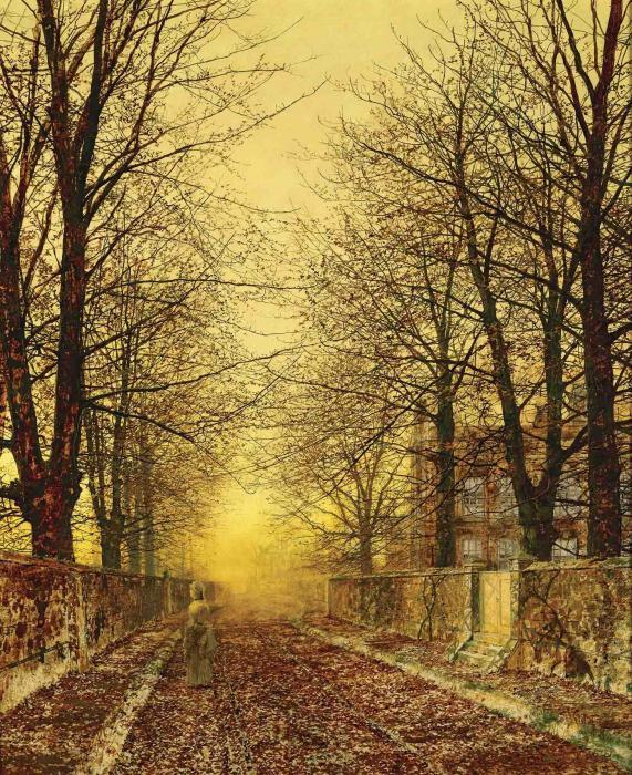 A Golden Country Road, Oil On Canvas by John Atkinson Grimshaw (1836-1893, United Kingdom)