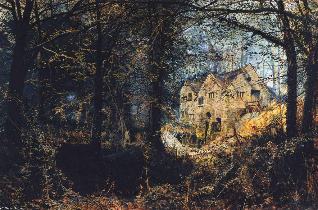 Autumn Glory: The Old Mill, Oil On Canvas by John Atkinson Grimshaw (1836-1893, United Kingdom)