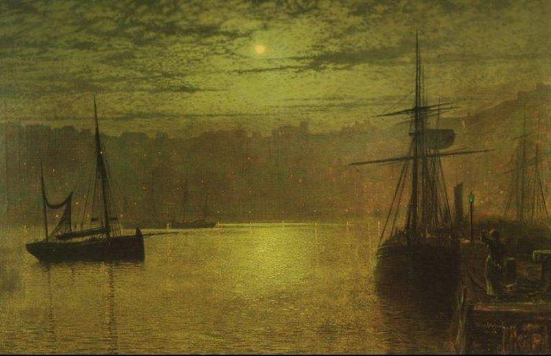 Lights in the Harbour by John Atkinson Grimshaw (1836-1893, United Kingdom)