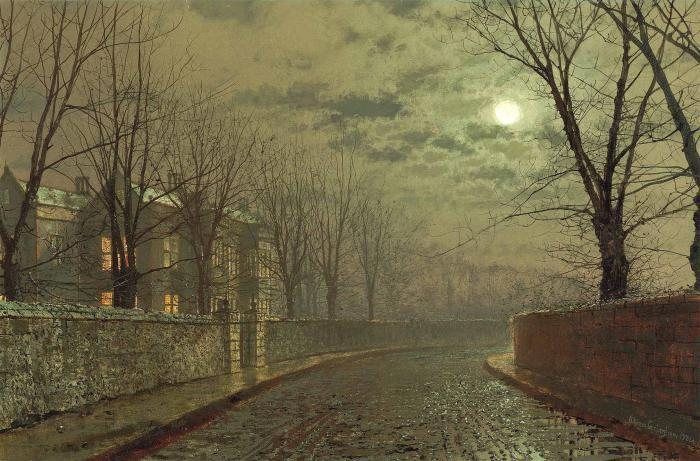 Silvery moonlight by John Atkinson Grimshaw (1836-1893, United Kingdom)