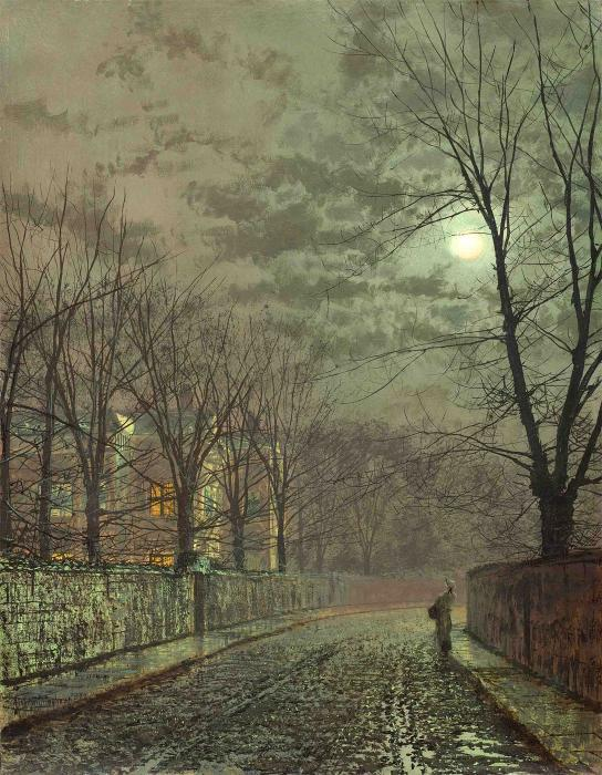 Under the moonbeams, Knostrop Hall by John Atkinson Grimshaw (1836-1893, United Kingdom)