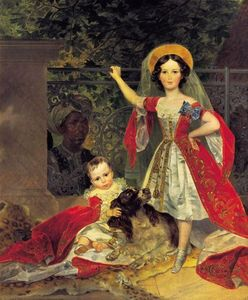 Karl Pavlovich Bryullov - Portrait of Volkonskis Children with Blackamoor