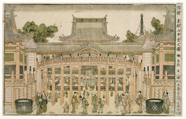 Inside the Courtyard of the Toeizan Temple at Ueno, 1786 by Katsushika Hokusai (1760-1849, Japan) | ArtsDot.com