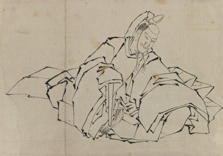 Drawing of Seated Nobleman in Full Costume by Katsushika Hokusai (1760-1849, Japan) | Oil Painting | ArtsDot.com