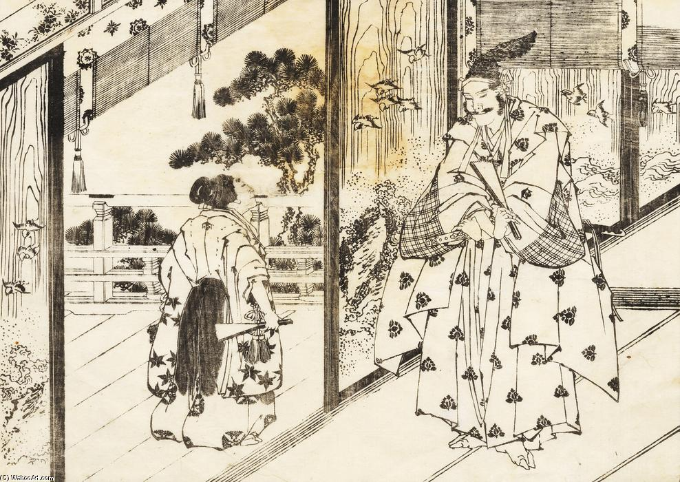 A well educated boy pays respect to an older man by Katsushika Hokusai (1760-1849, Japan) | Painting Copy | ArtsDot.com