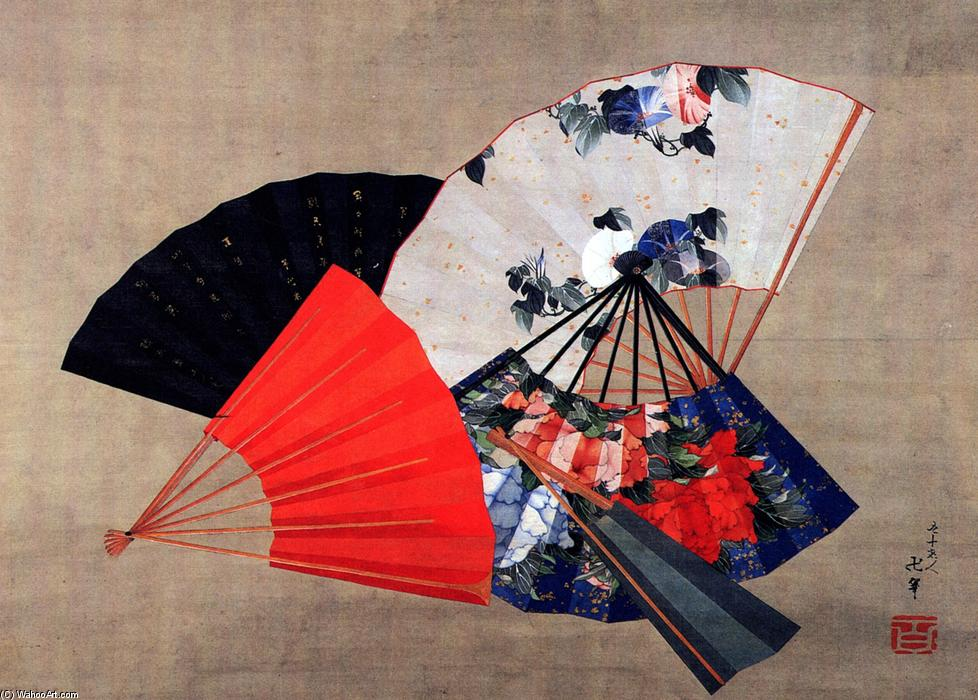 Five fans by Katsushika Hokusai (1760-1849, Japan) | Museum Art Reproductions | ArtsDot.com