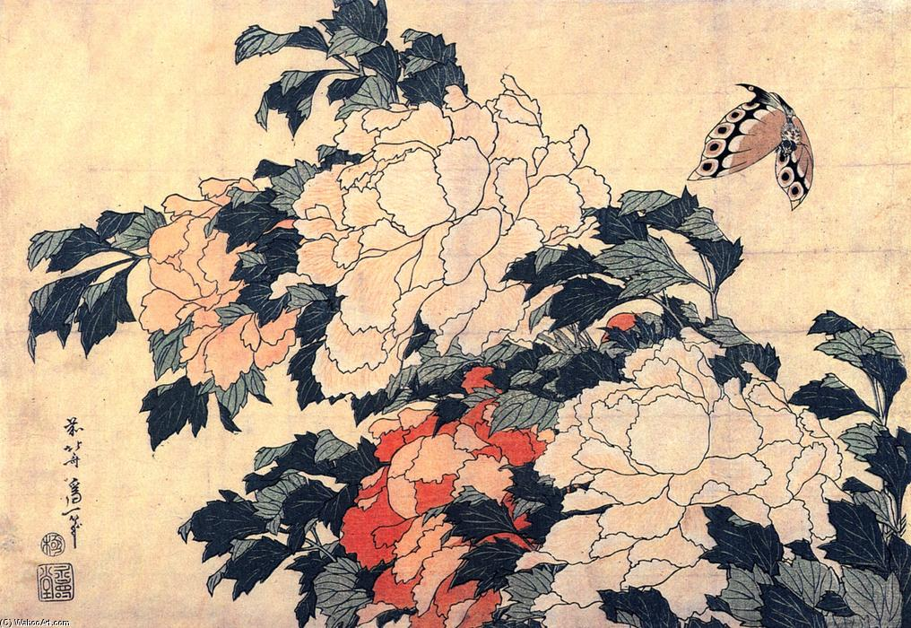 Poenies and butterfly by Katsushika Hokusai (1760-1849, Japan)