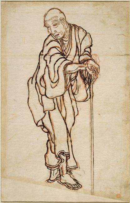 Self-portrait in the age of an old man by Katsushika Hokusai (1760-1849, Japan)