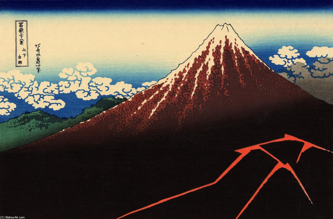 Rainstorm beneath the Summit, Wood by Katsushika Hokusai (1760-1849, Japan)