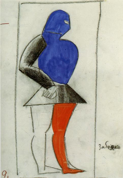 Brawler, Pencil by Kazimir Severinovich Malevich (1878-1935, Ukraine)