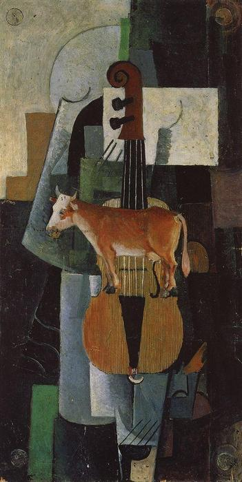 Cow and Fiddle, 1913 by Kazimir Severinovich Malevich (1879-1935, Ukraine) | Museum Quality Reproductions | ArtsDot.com